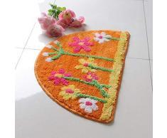 QXYOUNGA - Felpudo semicírculo para baño, Antideslizante, tapete Suave para Suelo de Cocina, Alfombra WC para Puerta, diseño de Flores, Naranja, About 40x63cm