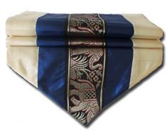 by soljo - navy azul mesa de mantel de lino camino de mesa corredor seda tailandesa elefante Elegante 150 cm de largo x 30 cm