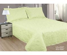 ForenTex - colcha bouti, (LQ-2587), reversible, Blanca por un lado, Verde pistacho por otro lado, 240 x 260 cm, +2 fundas cojines, Termo Estampada, barata, colcha de verano. Por cada 2 colchas o mantas paga solo un envío (o