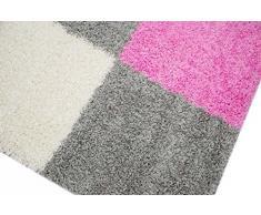 Shaggy Alfombra Peludo Alfombra de pelo largo Moquette alfombra de la sala Karo verde gris crema rosa Größe 60x110 cm