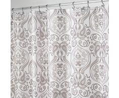 InterDesign Tribal Damask Cortina de ducha | Cortinas para baño de calidad | Cortina de baño de diseño en tamaño 183,0 cm x 183,0 cm | Poliéster topo