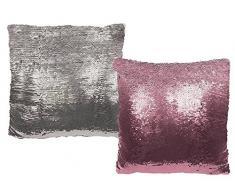 OOTB Plata/Cojín de Lentejuelas de Color Rosa, Glamour, con Cierre de Cremallera, poliéster/Pet,, 37.5 x 6 x 36.5 cm
