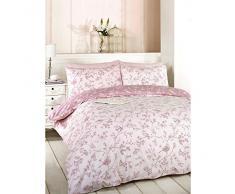 Just Contempo - Juego de funda nórdica y funda de almohada (algodón y poliéster, reversible), diseño de flores, mezcla de algodón, rosa, suelto