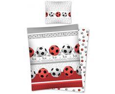 DP Juego de Ropa de Cama de fútbol Reversible Cama en Rojo/Blanco de 100% algodón Tamaño: 140 x 200 cm, 70 x 80 cm