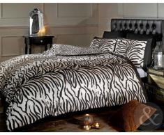 Just Contempo - Juego de funda nórdica y dos fundas de almohada, diseño de cebra, color blanco y negro, mezcla de algodón, marrón/negro/beige, funda de edredón individual