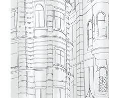 InterDesign Cityscape SC Cortina de baño con dibujo de casas | Cortinas para bañera o plato de ducha de 183 x 183 cm | Cortina de ducha con ojales | Poliéster blanco/negro