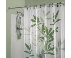 InterDesign Leaves Cortina de ducha | Cortina de baño de diseño de tamaño estándar, 180,0 cm x 200,0 cm | Elegantes cortinas estampadas con dibujo de hojas | Poliéster verde