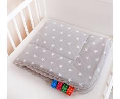 Glocal Berlin Manta para bebé mullida, 75 x 100 cm, con diseño de estrellas, color gris
