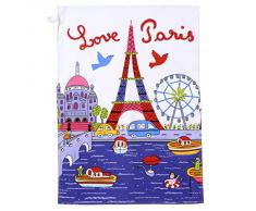 Fotrot 8738RISI Parisino Paris algodón Trapo de Cocina paños de Blanco 70 x 50 cm