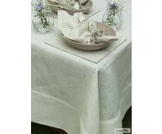 Linenme Mantel Emilia Round de lino. Color blanco roto 180 cm.