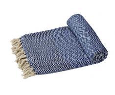 Reversible EHC grandes sofás o solo algodón suave manta doble brazo silla - azul marino/Natural