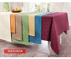 TEXTURAS SELECTION Mantel Antimanchas LONETA RESINADA Color Liso IMPERMEABLE Tamaños Especiales ( 6 colores disponibles ) TISCHDECKER DOUISBURG (160X220 OVAL, AZUL)