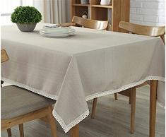 Ommda Moderno Mantel Antimanchas Rectangular Mantel Lavable con Borde de Encaje para Diseño de Comedor Jardin Cocina 45x60cm Beige