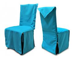 Soleil d'Ocre Panama - Funda para sillas (algodón reciclado, 45 x 60 x 45 x 46 cm), color azul
