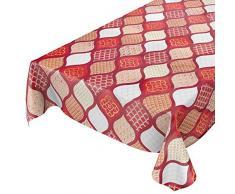 ANRO - Mantel de Hule Lavable, diseño de Cuadros, Color Dorado, Plateado y Gris, Rojo, 100 x 140cm Schnittkante