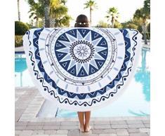Toallas de playa, Sannysis Mantel Mandala redondo de algodón con diseño Hippy, 150cm x 150cm (B)