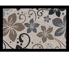 ID, 4060 Decotwist Flora-Alfombrilla-Felpudo fibra de poliamida y PVC, color Beige, 0,67 x 60 x 40 cm