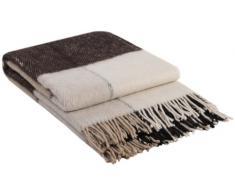 Manta de lana con franja, 65% Lana, 140 X 200cm, modelo London 1, color marrón-beige-blanco