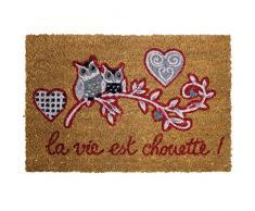 Alfombra decorativa 1740386-Felpudo fibra de Coco y PVC, diseño de Chouetti 60 x 40 x 60 cm