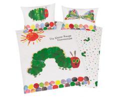 Herding 246001063 - Juego de funda nórdica infantil de linón, diseño de La pequeña oruga glotona (40 x 60 cm + 100 x 135 cm)