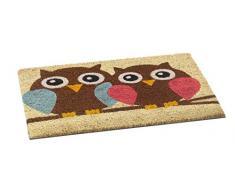 Puerta alfombrillas Freestyle - Felpudo (Estera de coco 60 x 40 cm fibra natural Coco antideslizante vinilo espalda, Owls