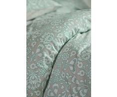 Esprit satén ropa de cama Folk Floral I color turquoise turquesa I Floral Ornament I de puro algodón I cremallera, 200x220+2x80x80