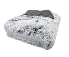 ZOLLNER Manta Grande para sofá o Cama 90, imitación Piel de Pelo Largo, 150x200 cm, Gris-Blanco, en Otra Medida
