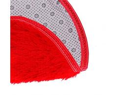 """Culater Baño Suave Dormitorio Ducha de piso Alfombrilla redonda Antideslizante Diámetro 40cm/15.7""""(Tamaño de los pies) (Rojo)"""