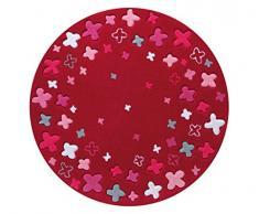 Esprit - Alfombra redonda, color rojo, Poliacrílico, rosso, 100cm x 100cm rund