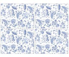 Portmeirion Botanic - Juego de manteles individuales (tamaño grande, 4 unidades), diseño de flores, color azul y blanco