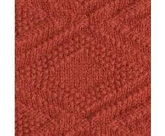 Linen & Cotton Manta para Sofá de Punto Suave y Ligera Arianna -100% Pura Lana Nueva Zelanda, Terracota/Rojo Oscuro (120 x 180cm) Plaid Edredón Colcha de Cama Singolo Matrimonio para Invierno Verano