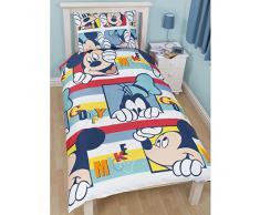 Just Contempo - Funda de edredón infantil (reversible, para cama individual), diseño de Mickey Mouse