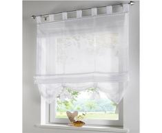 SIMPVALE Condole estilo romano L caida sombra ventana cortina para balcon y de la cocina, Blanco, 120cm*155cm
