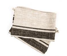 47 x 70 cm Provence LinenMe trapo de cocina de lino Natural diseño a rayas, juego de 2, negro