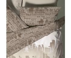 Catherine Lansfield Cityscape - Juego de sábanas + bajera para cama de 150 cm