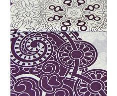 Just Contempo Juego de funda nórdica y funda de almohada reversible, diseño floral, mezcla de algodón, morado y crema, funda de edredón doble King size