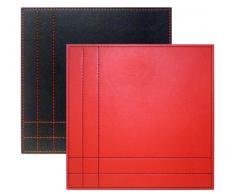 Tradestock iStyle - Juego de manteles individuales (piel sintética, 25 x 25 cm, reversibles, 4 unidades), color rojo y negro