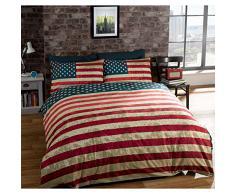 Just Contempo - Juego de funda nórdica y dos fundas de almohada, diseño reversible con bandera de Estados Unidos, multicolor, algodón poliéster, negro/gris/rojo/azul/crema, matrimonio