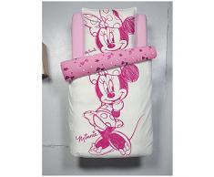 Juego de cama individual infantil (funda de edredón y almohada, 140 x 200 cm), diseño de Minnie, color rosa