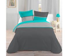 Lovely Casa HP41436014 bicolor 260 x 240 cm Funda nórdica + 2 fundas de almohada de 63 x 63 cm algodón turquesa
