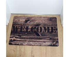 Stilingo - Felpudo para interior y exterior con mensaje «Welcome», 70 x 50 cm, microfibra, madera, 70 x 50 cm