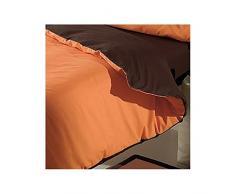 Sabanalia - Funda Nórdica Reversible Combina (Saco reversible) - Cama 2 metros, Choco-Naranja