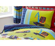 Juego de cama infantil con funda de edredón nórdico, diseño de excavadoras, poliéster, azul, suelto