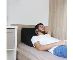 Almohada en forma de cuña, Soporte para la espalda en la cama, sala o el sofá / Almohada para leer o ver televisión Medidas: 60 x 50 cm, Altura: 30 cm - Color Negro