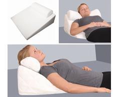 Almohada ortopédica, espuma viscoelástica, con apoyo cervical, 65 x 60 x 32 cm, con forma de cuña, suave, ideal para leer y ver la televisión, color negro