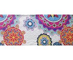ForenTex- Colcha Boutí reversible, (L-2634), cama 150 cm, 240 x 260 cm, Estampada cosida, Mandala rosa y lila, +2 cojines, colcha barata, set de cama, ropa de cama. Por cada 2 colchas o mantas paga solo un envío (o colcha y manta),