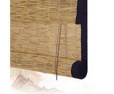 Persianas Enrollables De Bambú Persianas Enrollables Romanas De Bambú Persianas Enrollables De Madera - Lado Exterior Exterior Persiana Enrollable Ventanas Reed Balcón Y Fácil Instalación (60X135CM)
