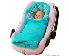 ByBoom® - Manta para entretiempo y verano con patrón, para portabebés, asiento de coche, por ejemplo para Maxi-Cosi, Römer, para cochecito, portabebés, por ejemplo, Manduca Color: Aqua