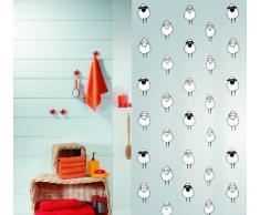 Spirella 180 x 200, colección Lana, Cortina de Ducha Textil, 100% Polyester, Negro/Blanco
