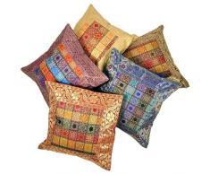 """""""Rajasthali"""" bordado a mano brocado Trabajo Seda Cojín de 5 piezas cover set - Multicolor"""